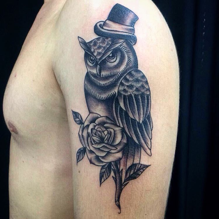 Owl With a Rose Flower Tattoo Art.