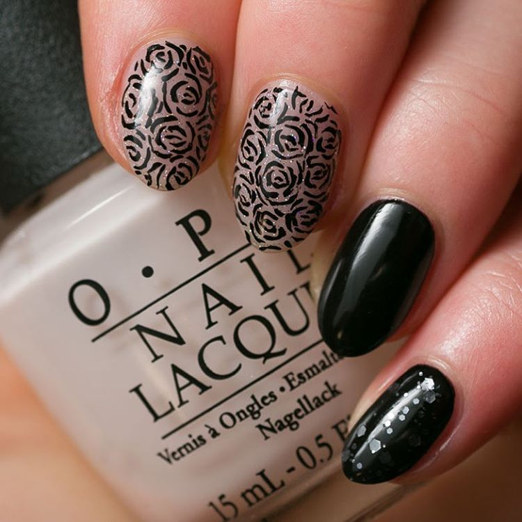 lovely designed black nail polish