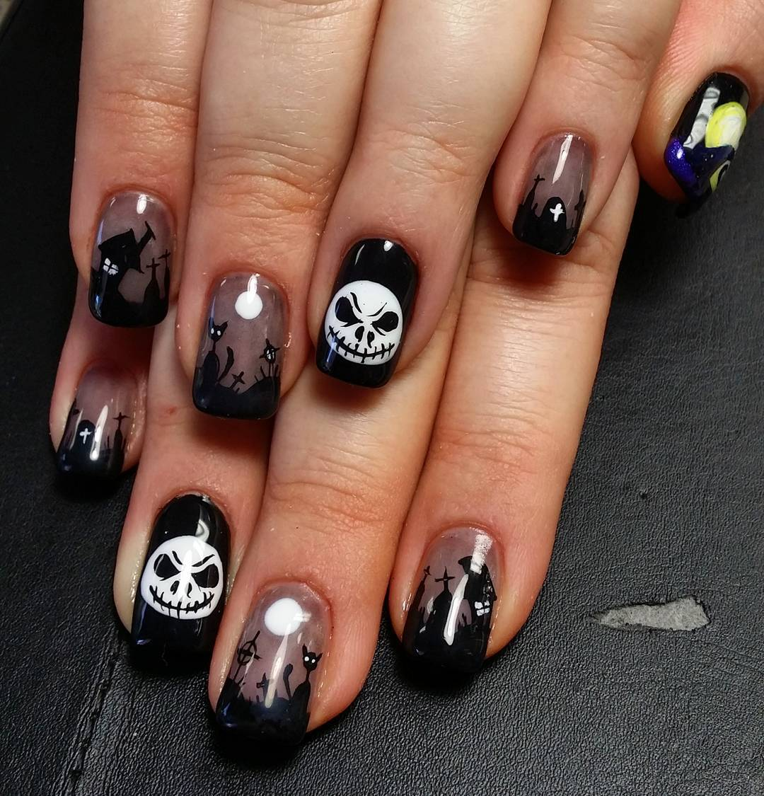 vintage black acrylic nails