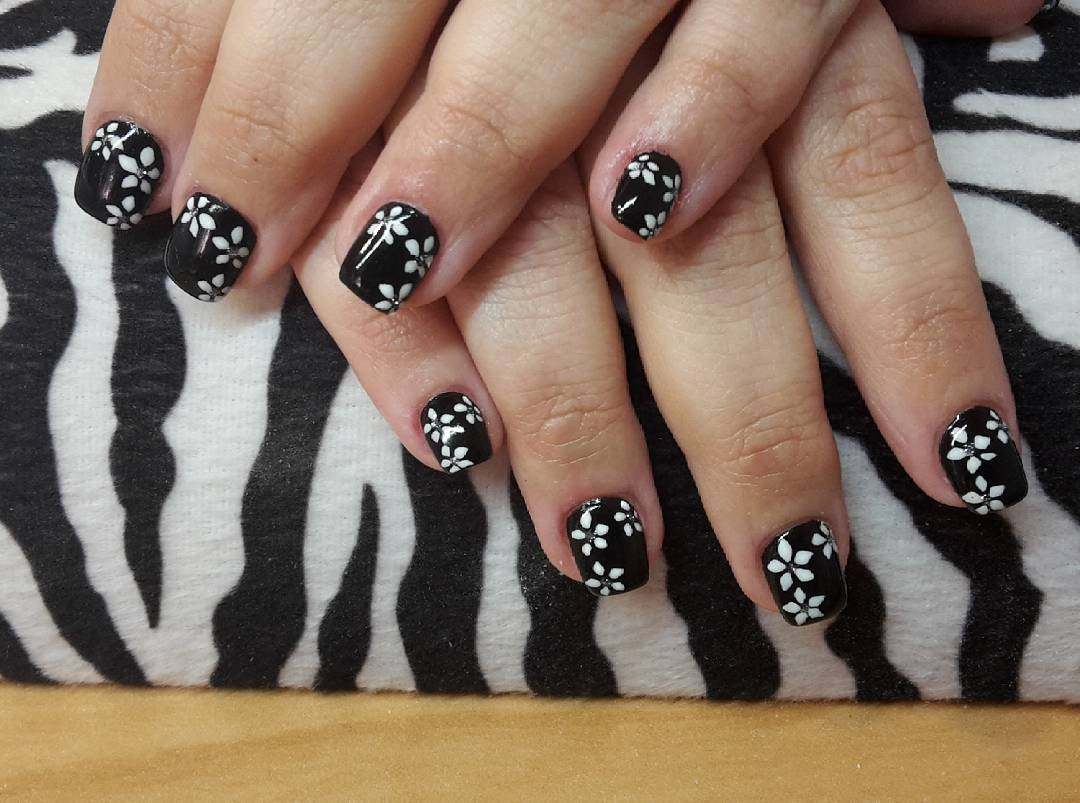 small flowers design black nail art for beautiful long nails