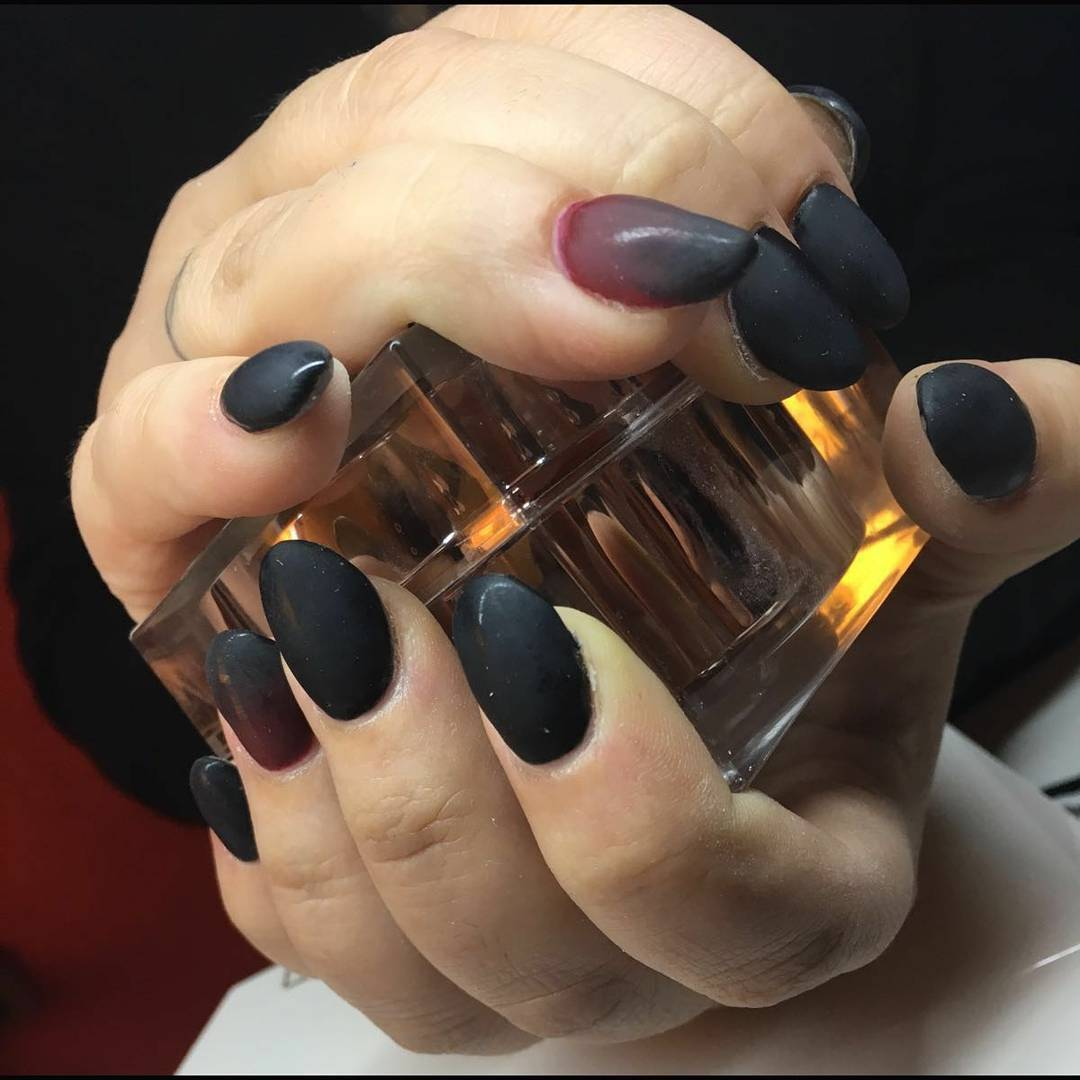 dark black nail design