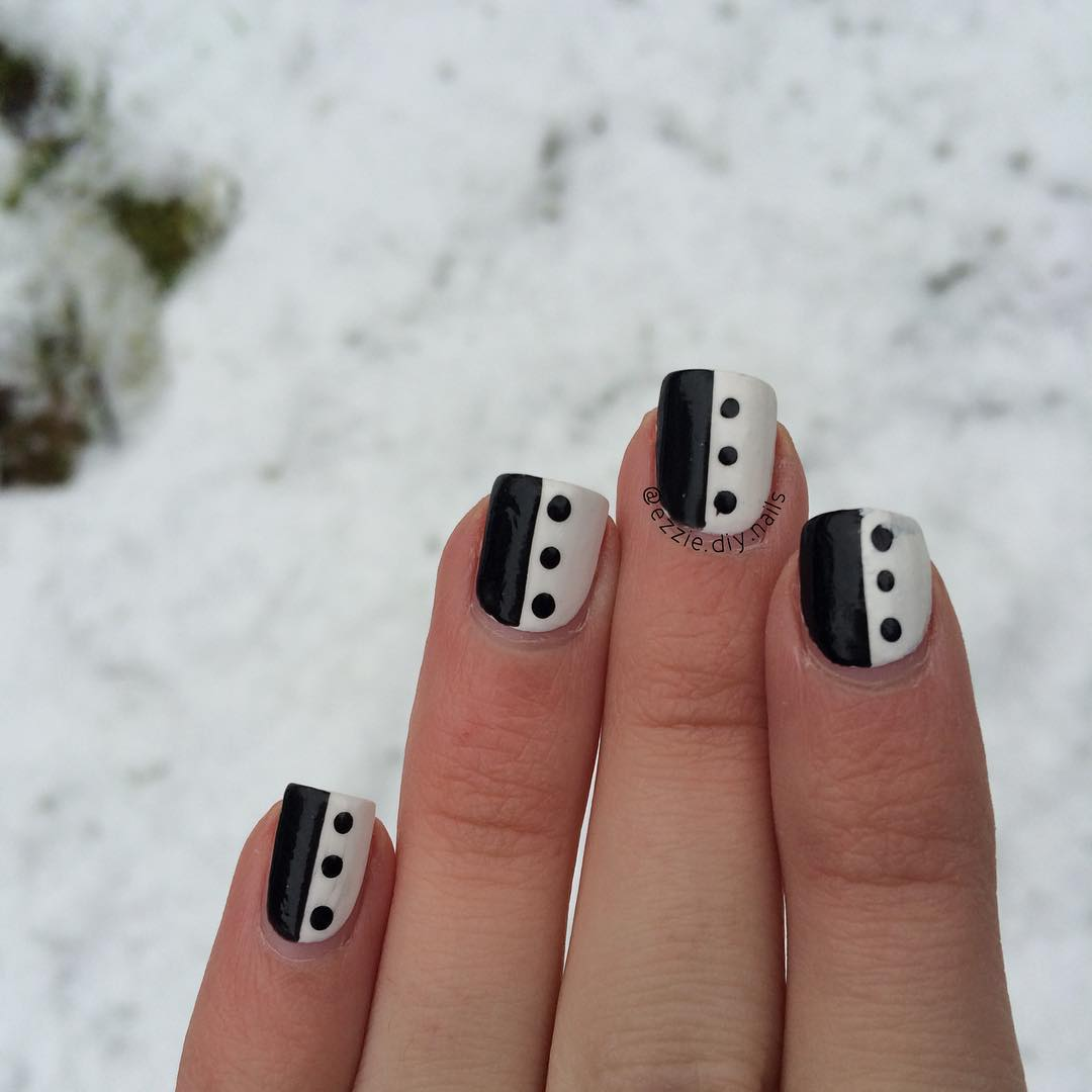 black and white simple nail design