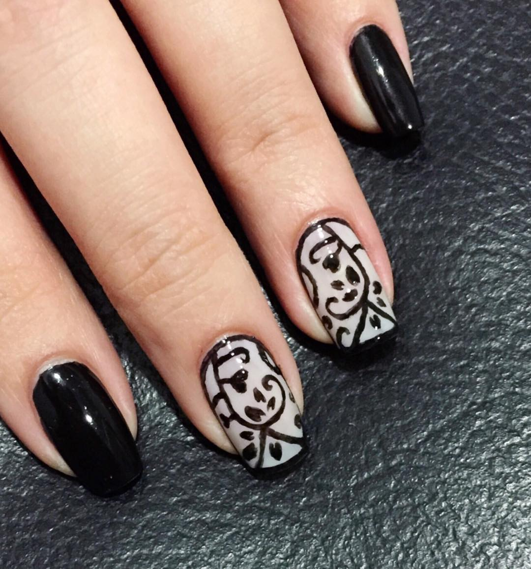 attractive designed black nail art for medium square nails