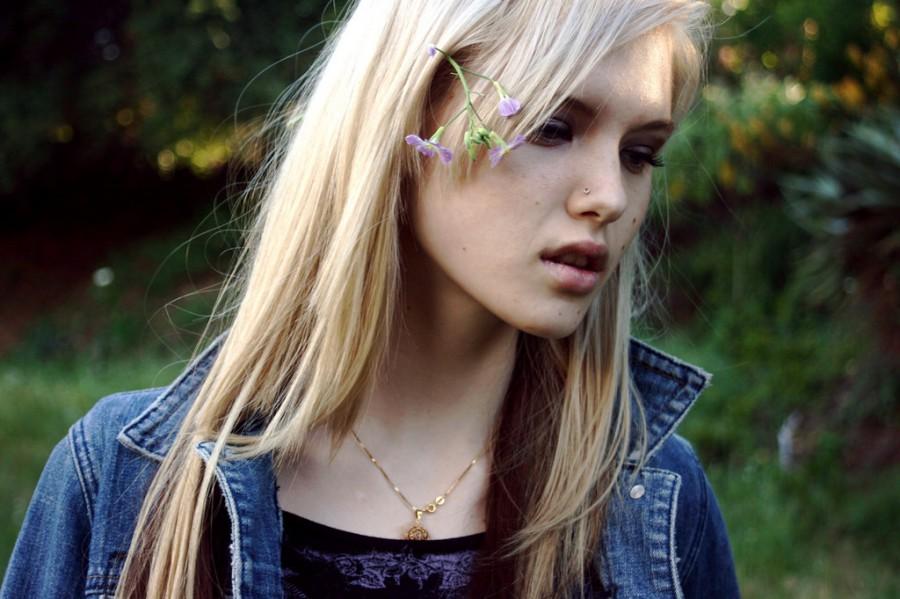 Platinum blonde hair color in peral passion