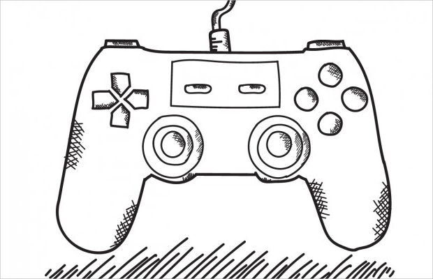 hand drawn game controller free vector