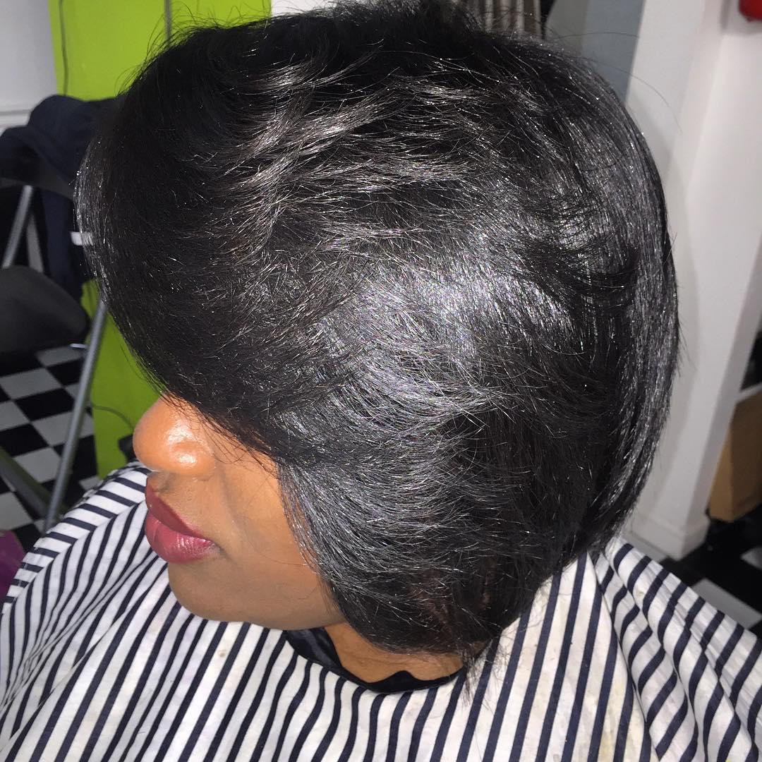Black and Silky Bob Haircut