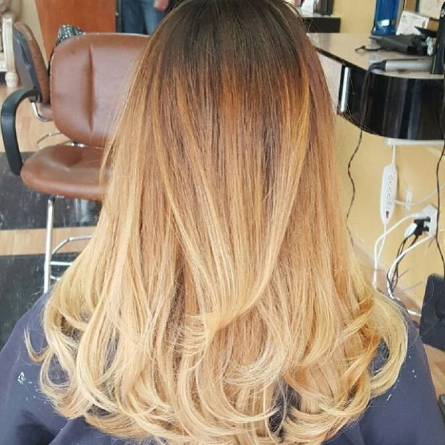 blonde ombre hair with gray shade out