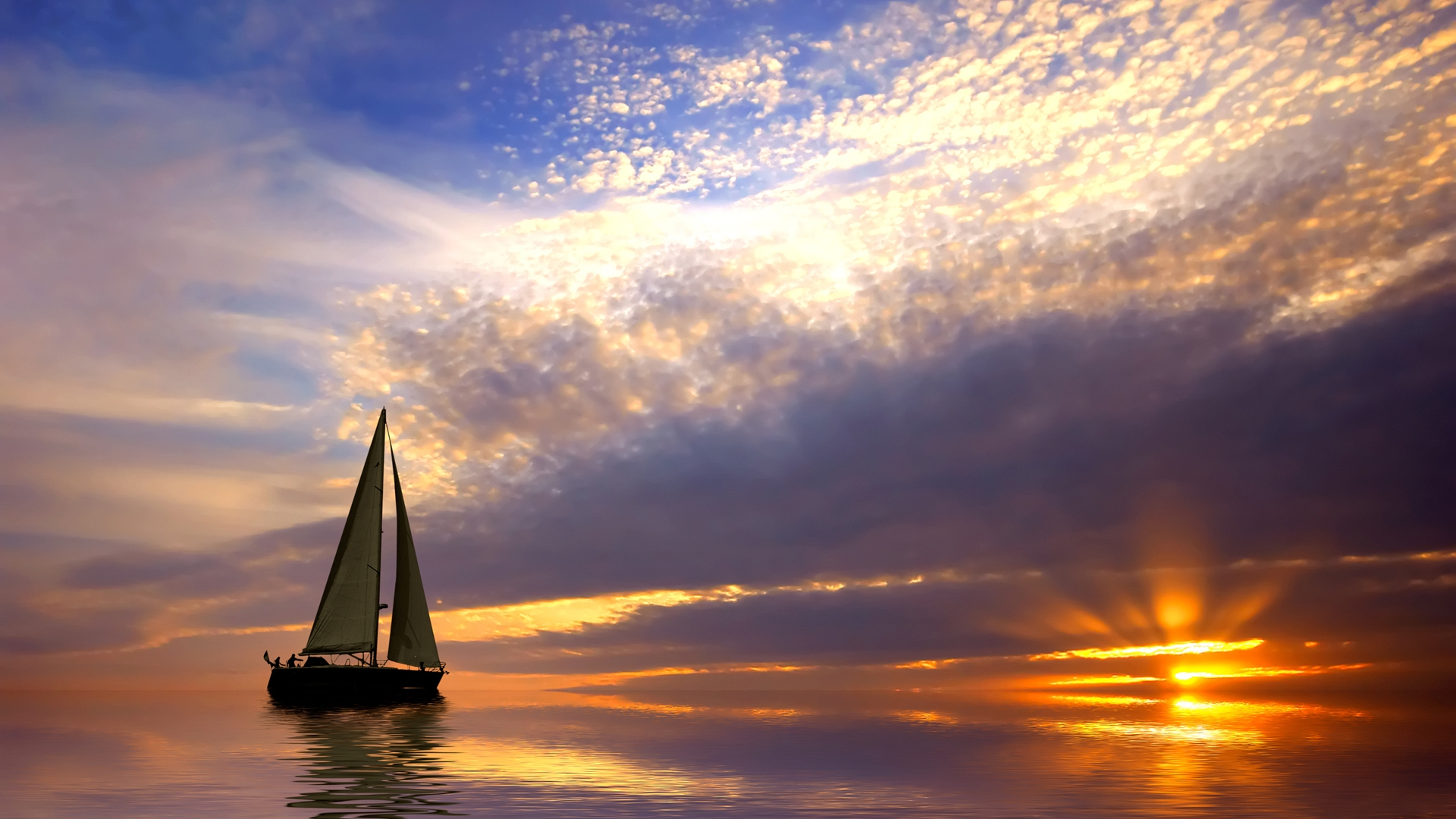 Sunset Sailing Wallpaper