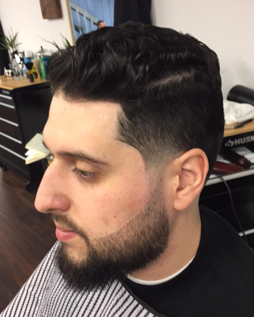 Top High Taper Hair with Beard