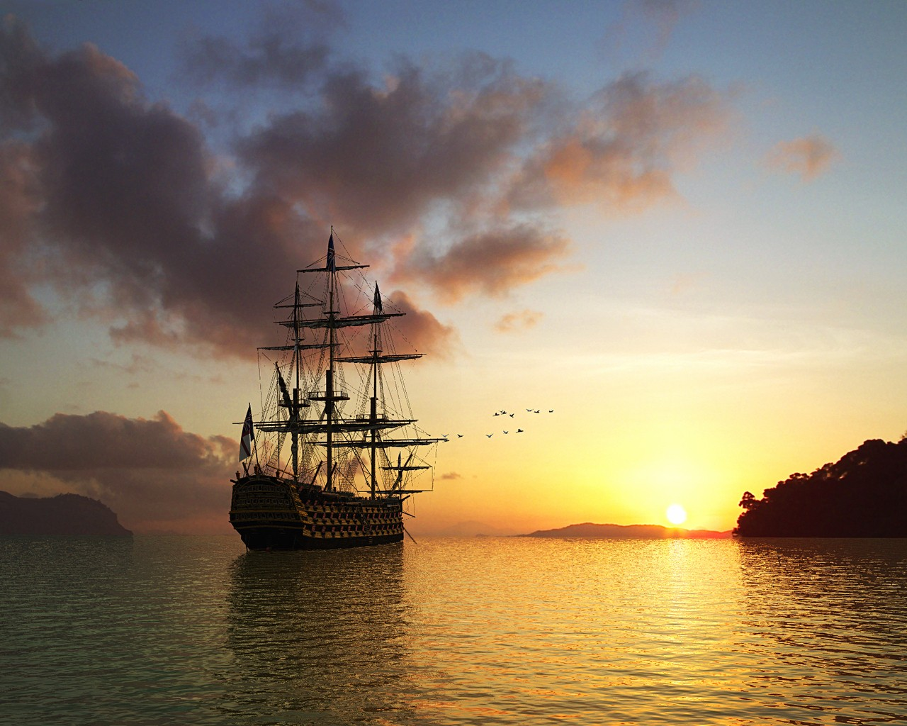 Sailing Ship at Sunrise