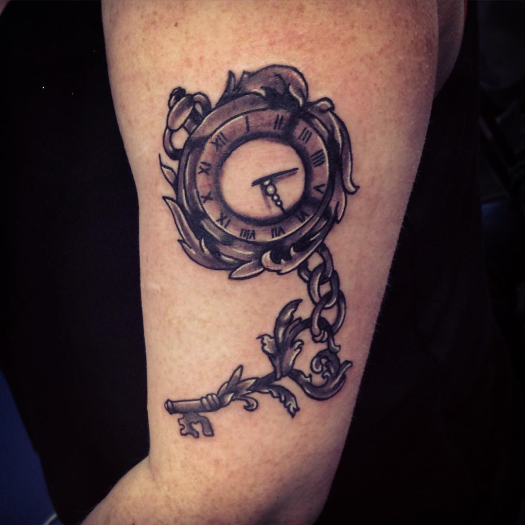 clock locket key design tattoo