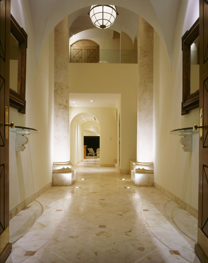 mediterranean entry with smooth floor and lighting