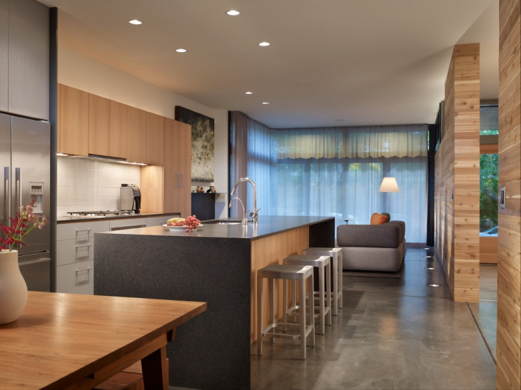 modern kitchen with floor lighting design