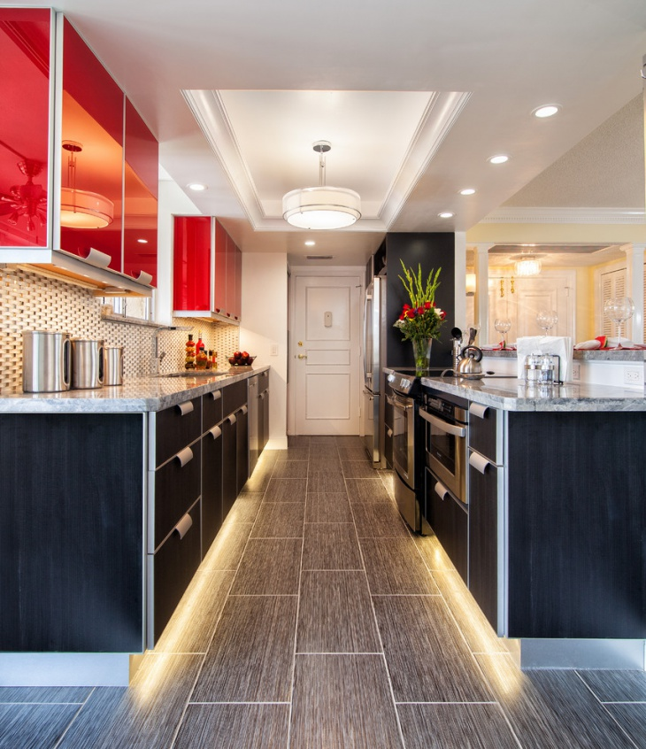 contemporary kitchen lights with cabinets