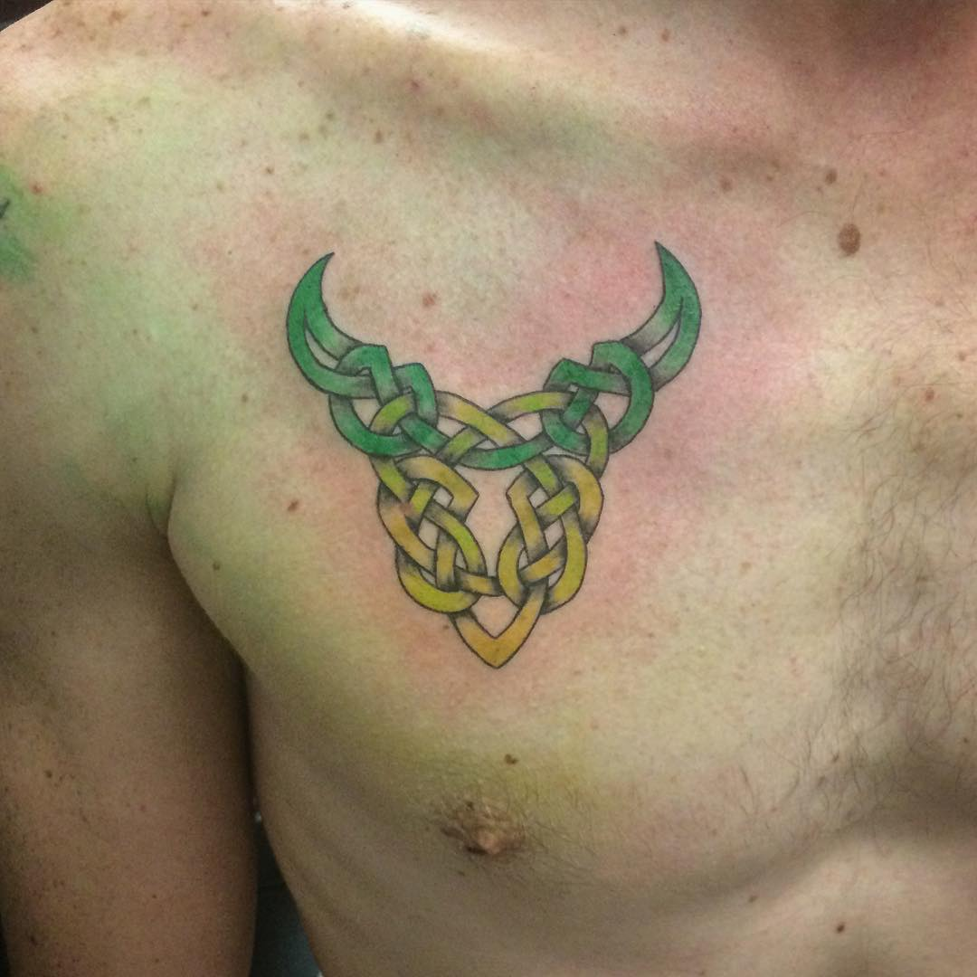 celtic taurus tattoo art on chest