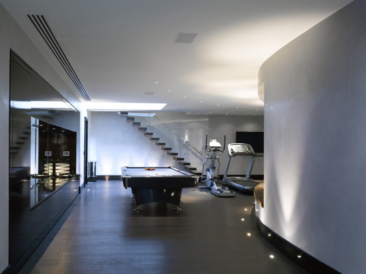 contemporary basement with floor lights design