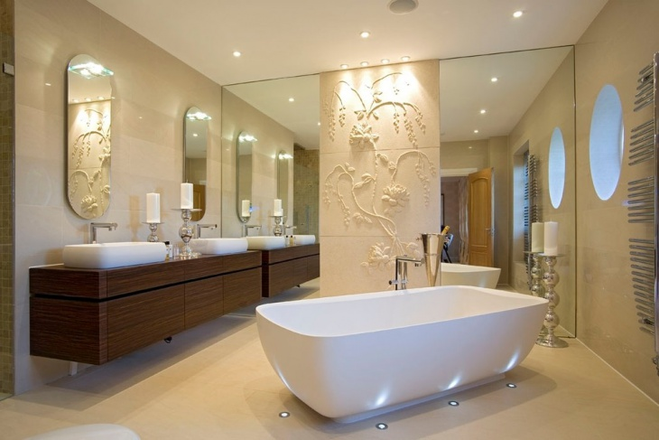 elegant bathroom with small designed floor lights