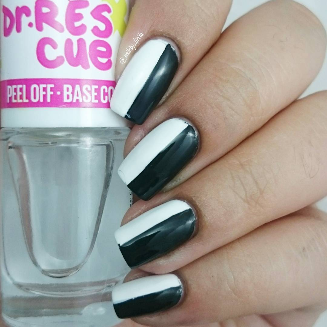 Half White And Black Nail Design