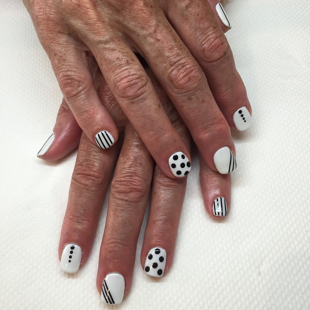 white and black nail art for short nails