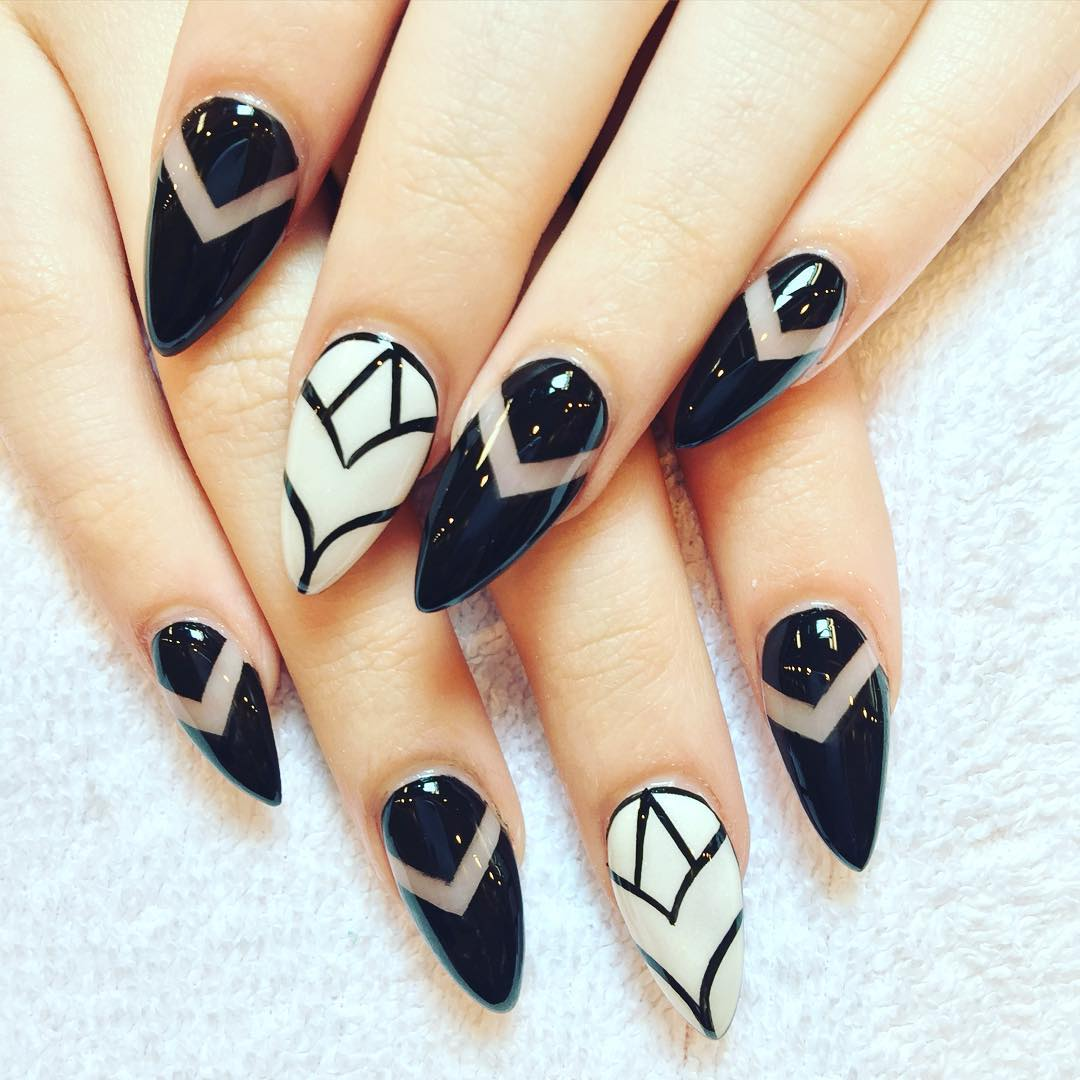 White Nail Ideas: 29+ Black And White Acrylic Nail Art Designs , Ideas