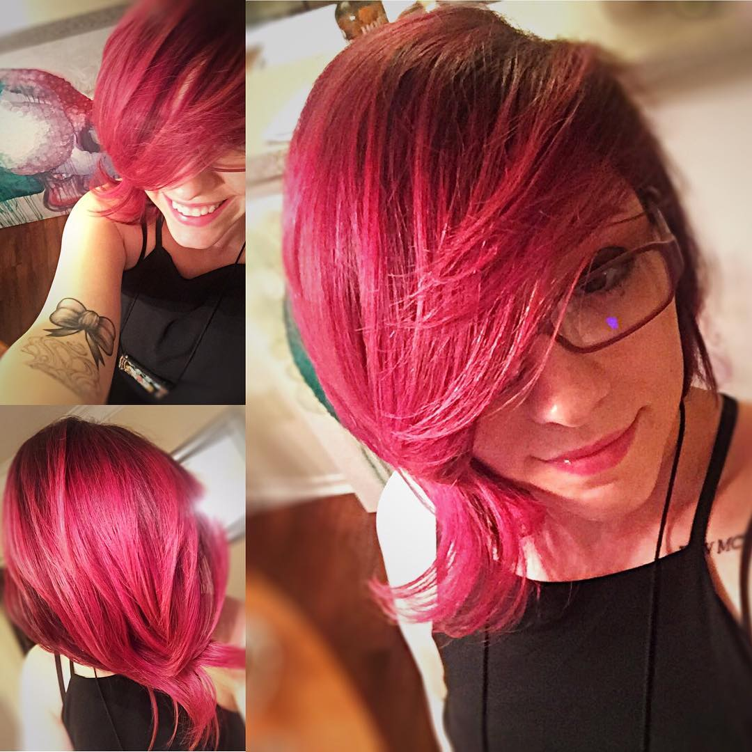 Bob Hairstyle With Pink Bangs Layers