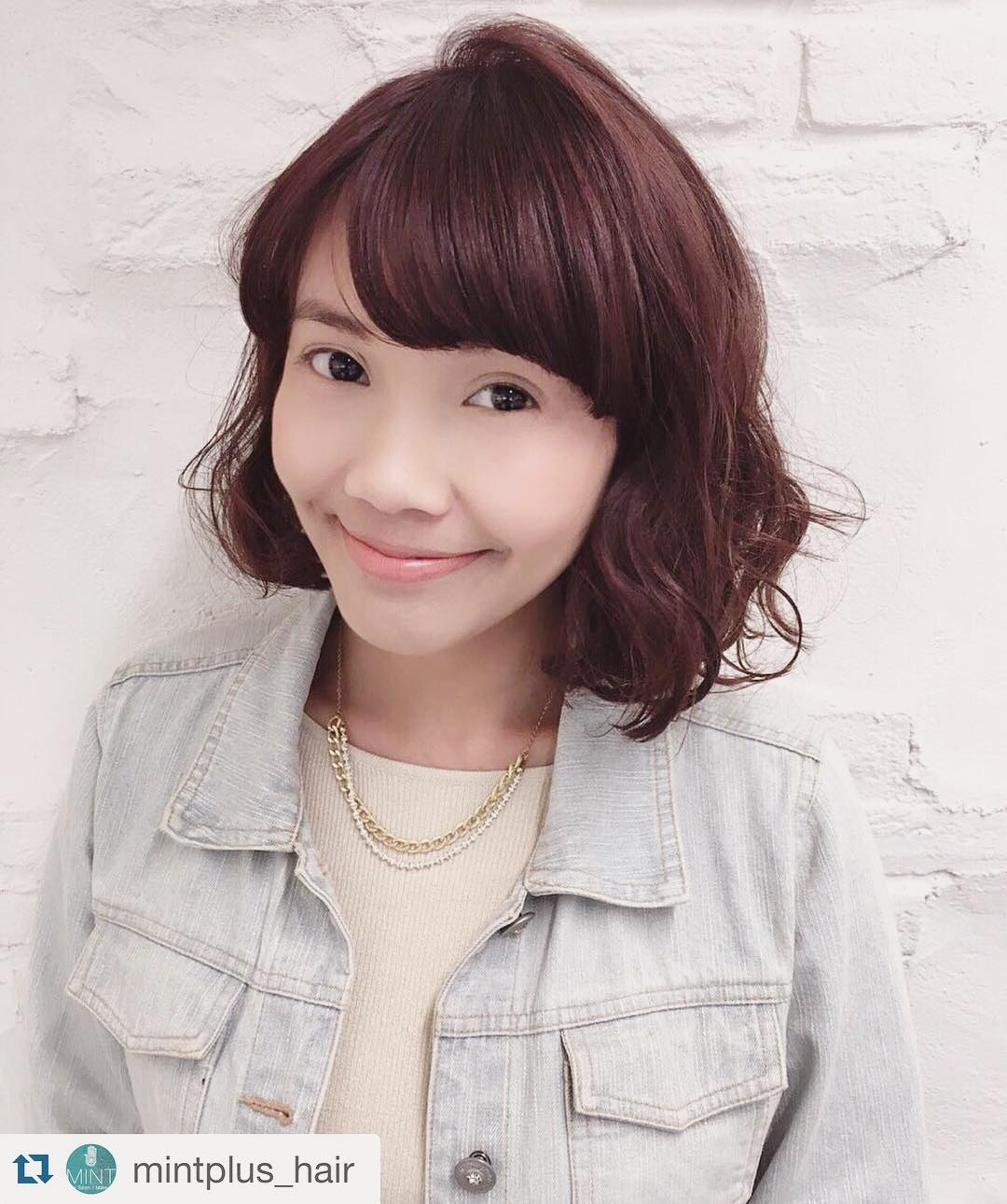 Half Bang Curly Short Bob Haircut.