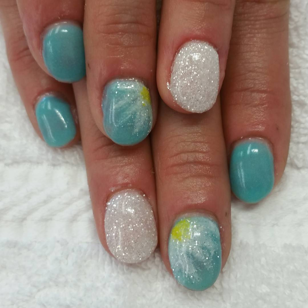 Glitter Blue and White Summer Nails