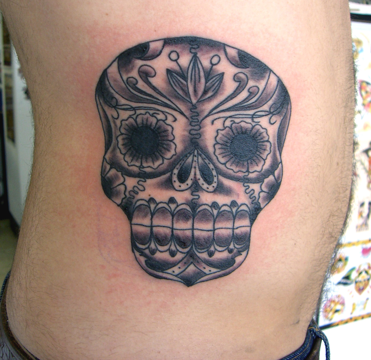 Skull Tattoo On side Rib For Boys