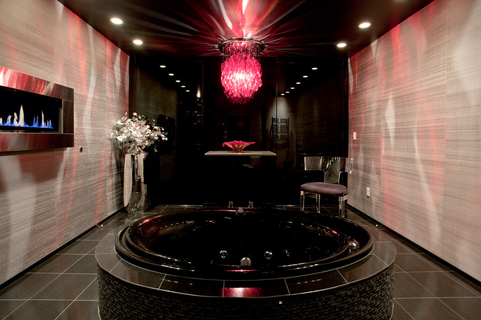 black bathroom pink crystal chandelier ideas