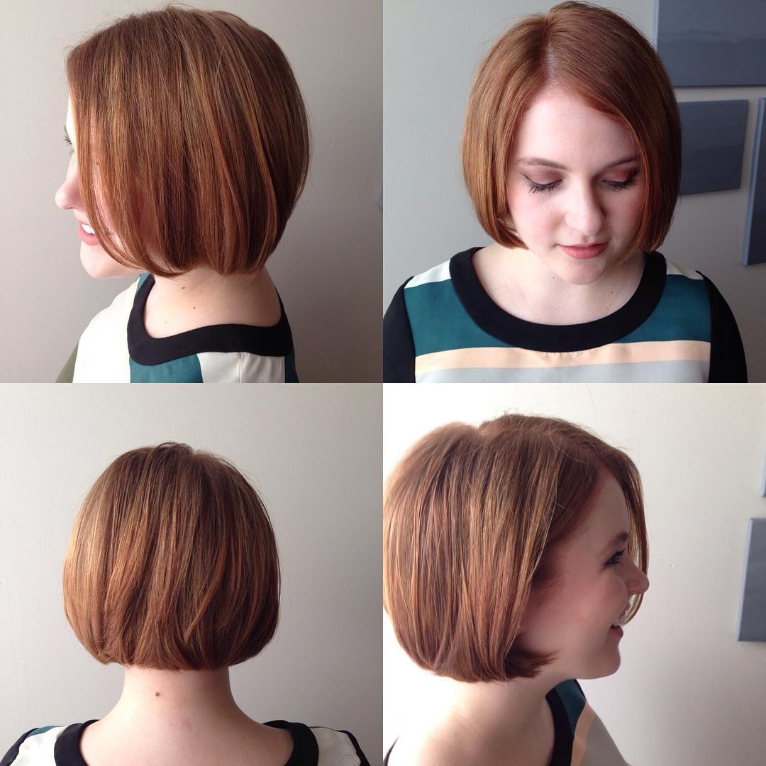 Copper Classic Bob Hair For Round Face
