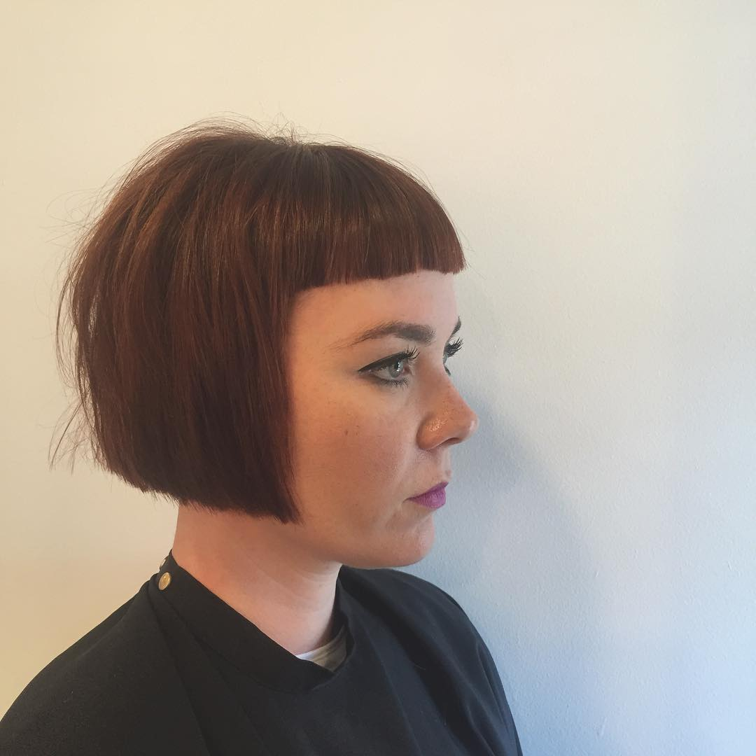 short layered bob style with bangs