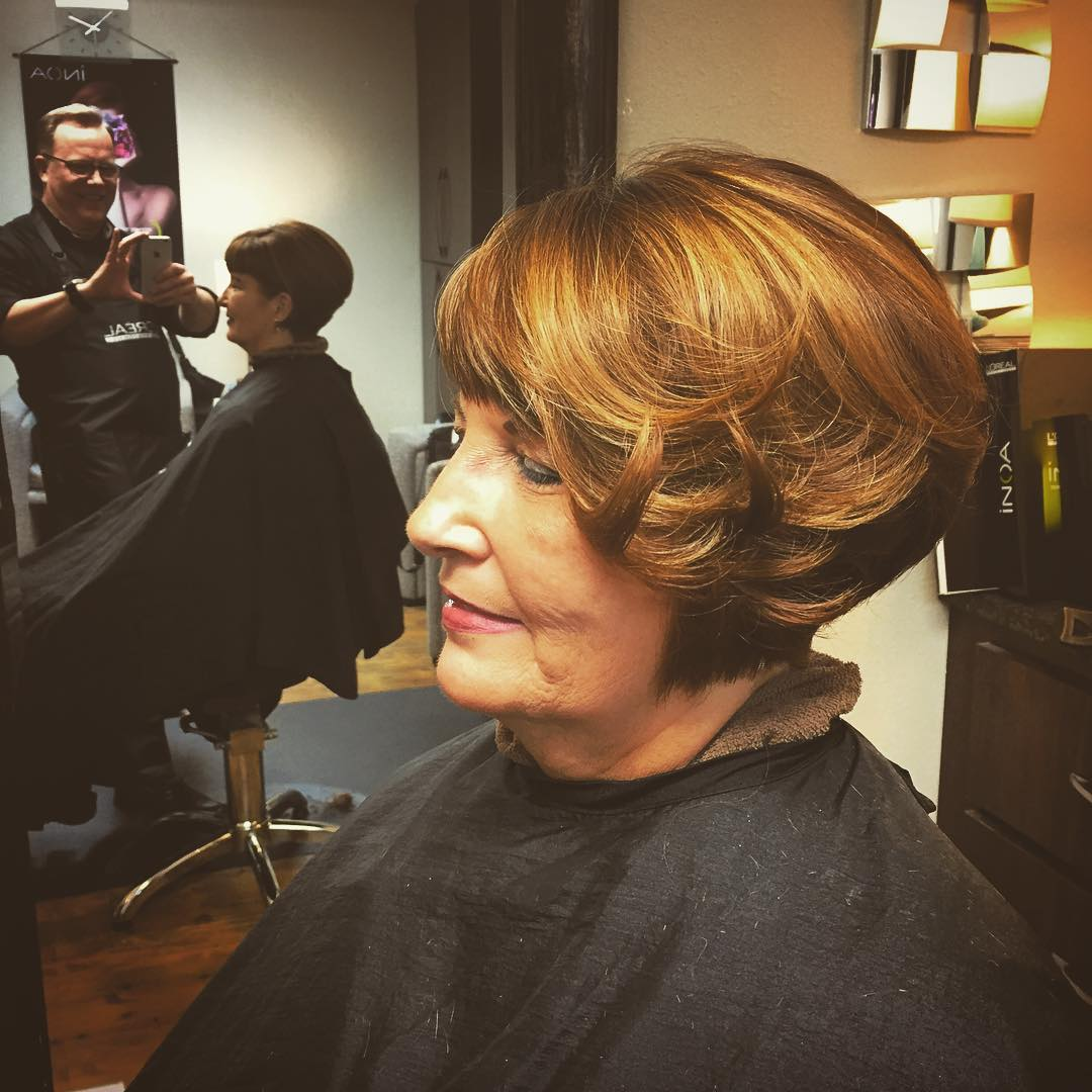 Layered Bob Haircut For Old Women