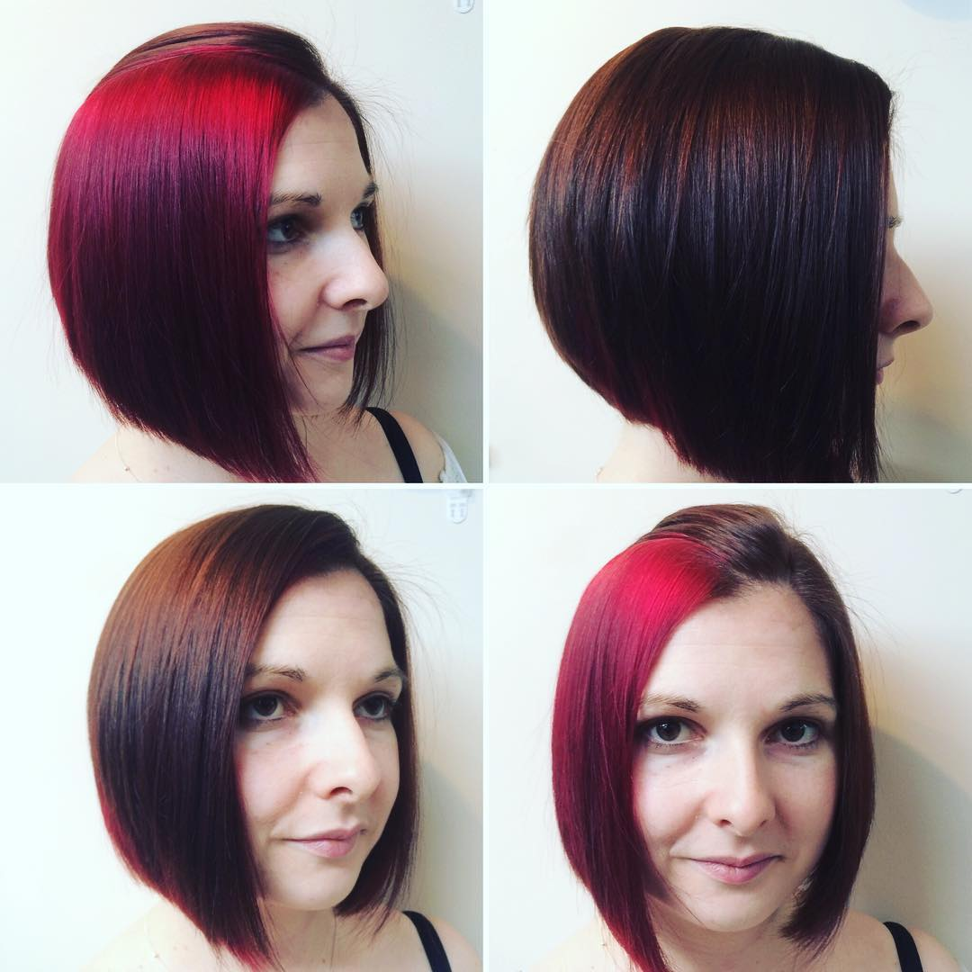Hidden Red Colored Hairstyle For Thin Hair