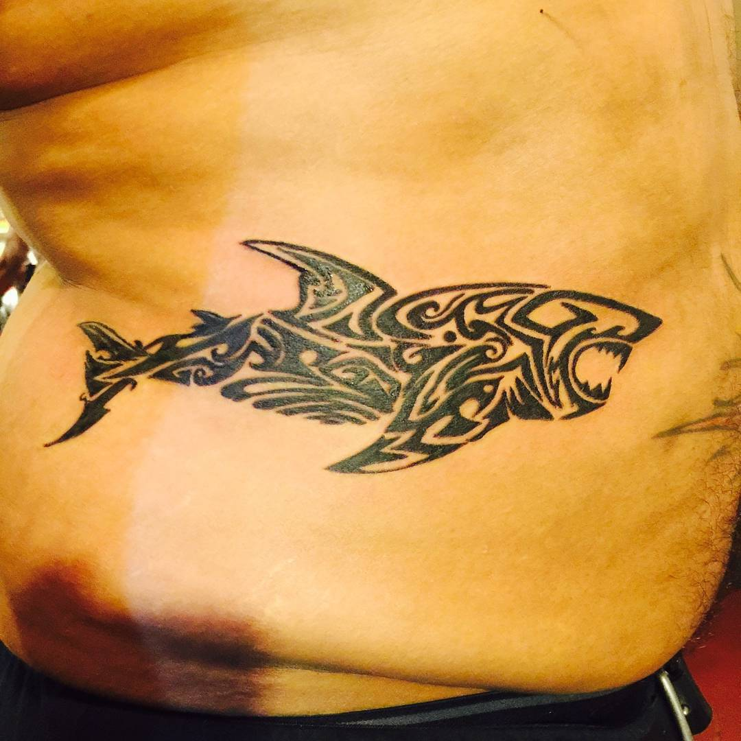black tribal shark tattoo fashion