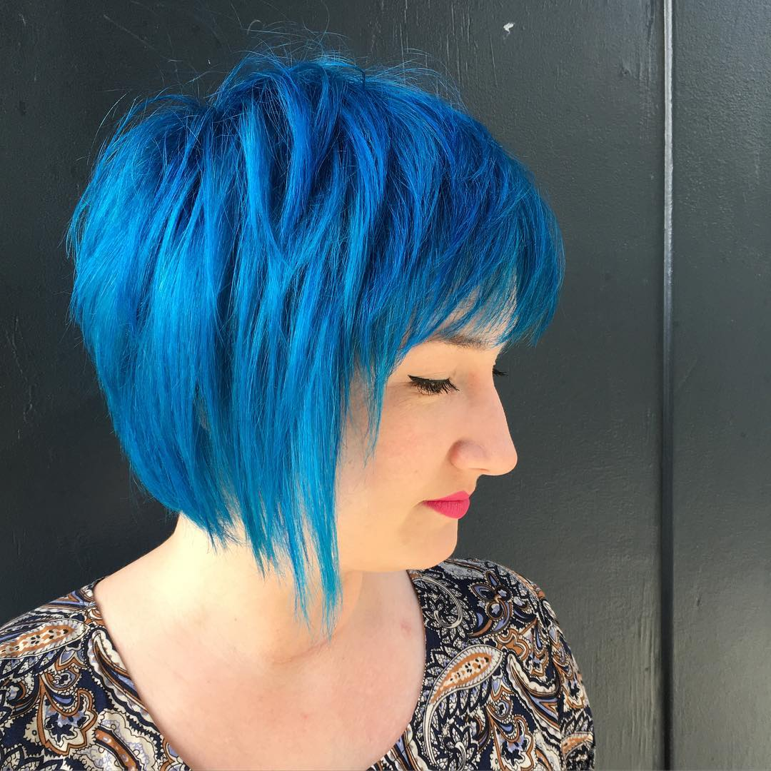 Blue Colored Chin Length Shag Bob Hairstyle