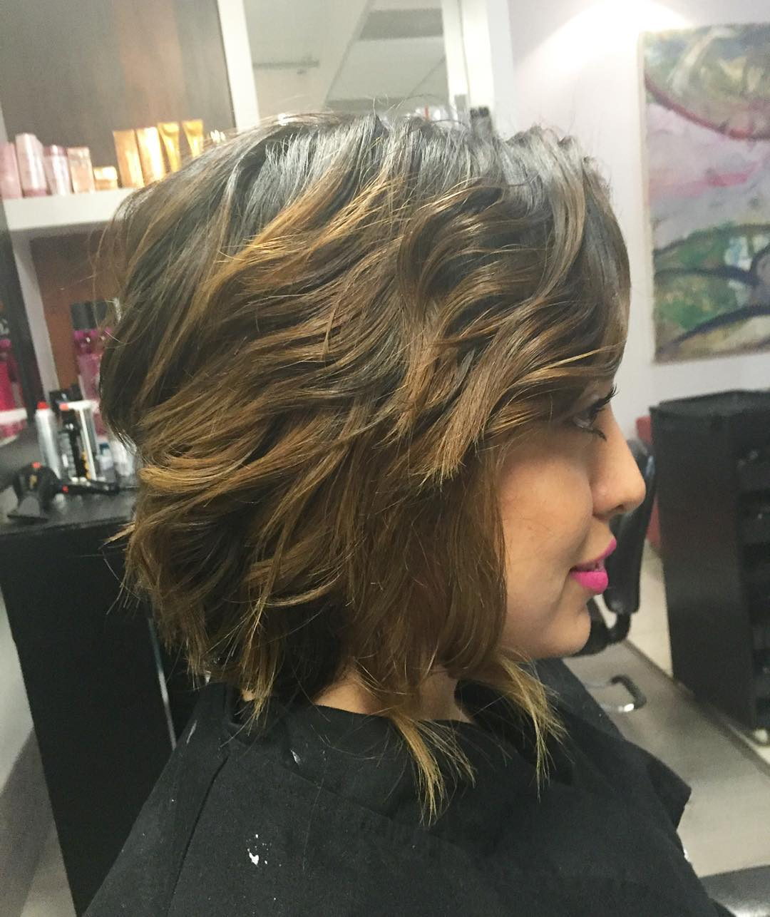 golden balayage medium shaggy haircut