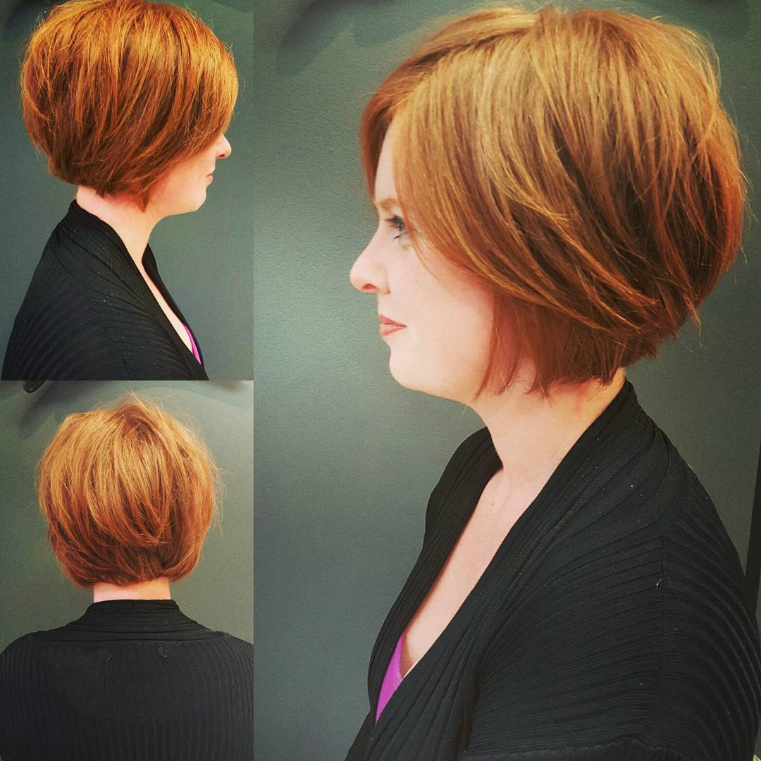 copper chin length bob hairstyle