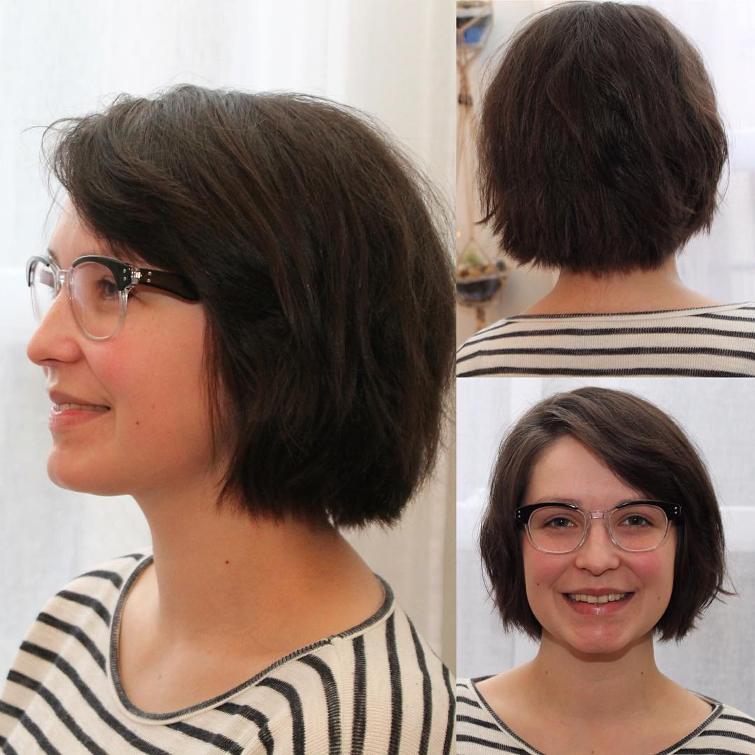 side parted mid length bob hairstyle