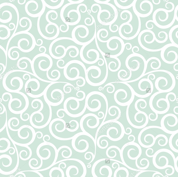 Green and White Ornametal Swirls Pattern