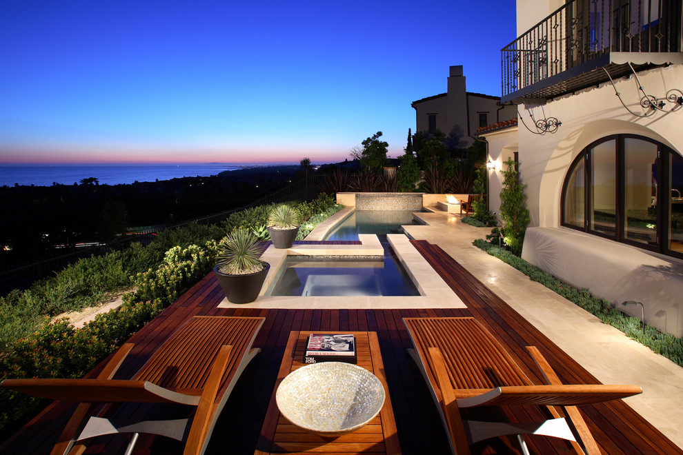 pool side deck with rail floor model