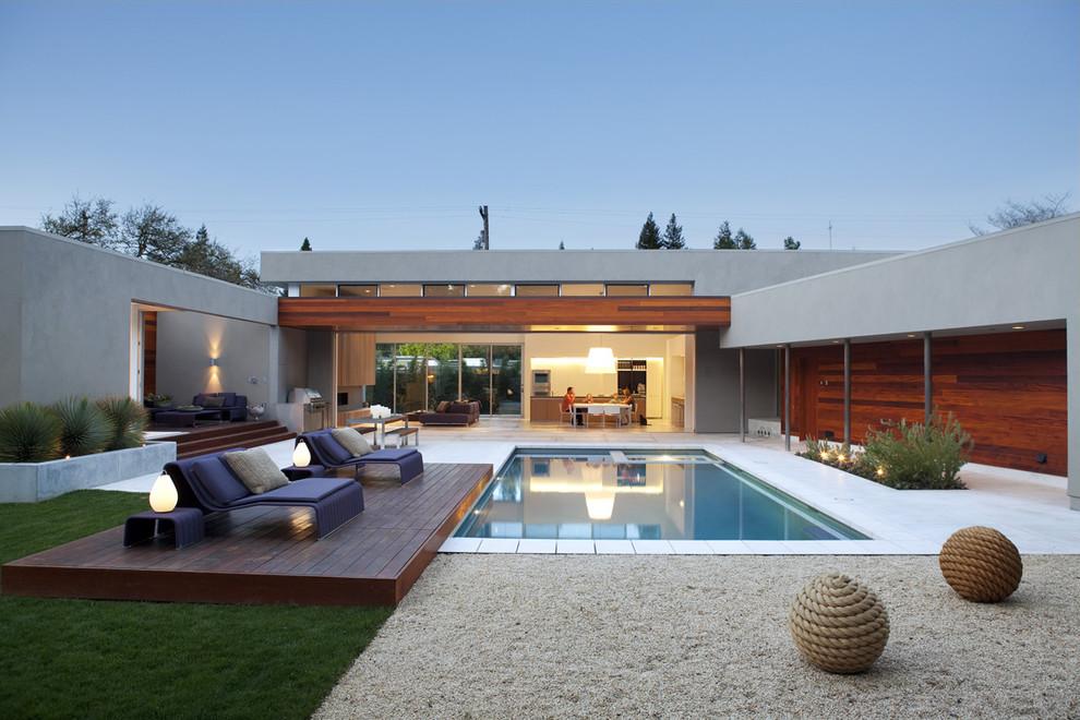 Modern Pool Deck with Rail floor Designs