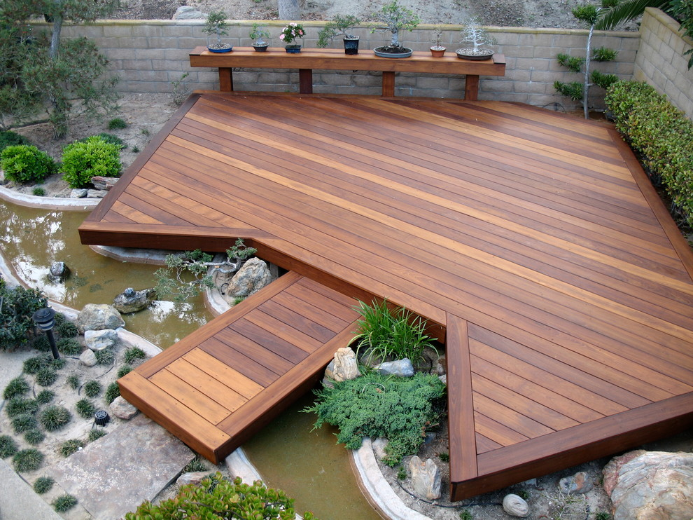 ideas for deck designs outside deck with wooden rail flooring ideas - Ideas For Deck Designs