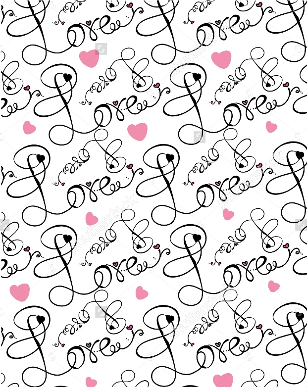 Love Design with Ornate Swirl Pattern