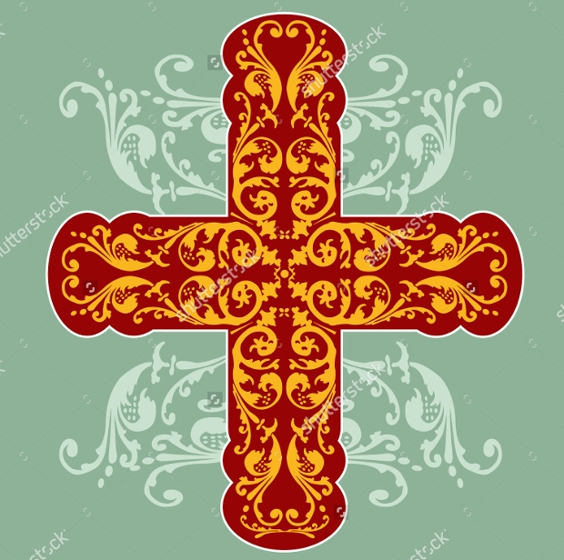 Floral Ornate Cross with Swirls Pattern