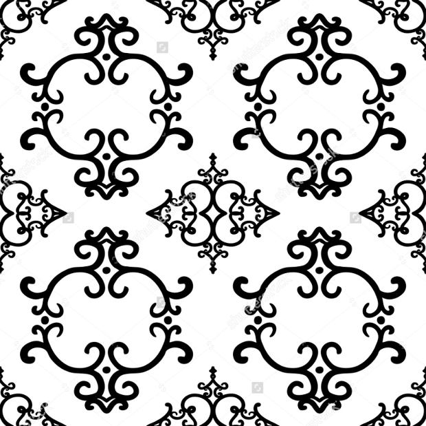 Seamless Wallpaper Pattern of Ornate Swirl Design