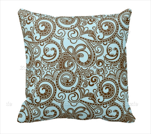Blue and Brown Ornate Abstract Swirl Pattern