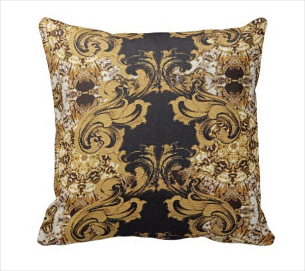 Elegant Gold Ornate Swirls Pattern on Pillow