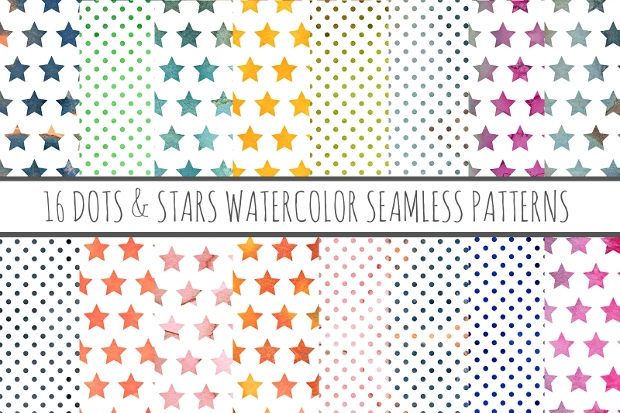 Dots and Stars Pattern with Watercolor