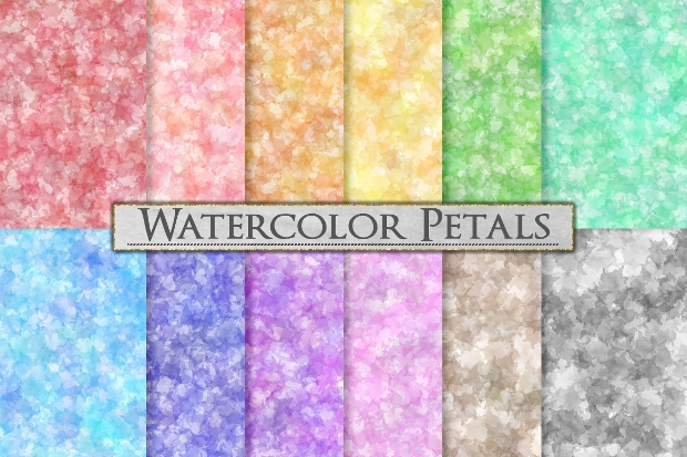 Pastel Watercolor Petals Pattern Background