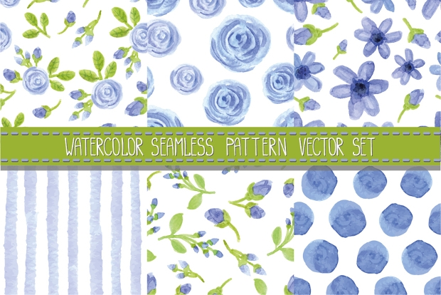 Watercolor Seamless Blue Pattern